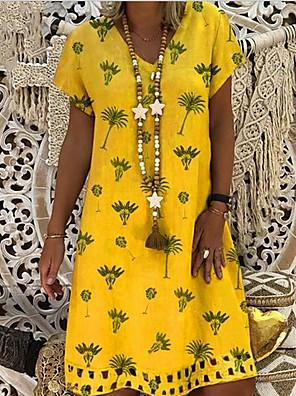 cheap Women's Dresses-Women's Shift Dress - Short Sleeves Print V Neck Loose Purple Yellow Blushing Pink Khaki Green Light Blue S M L XL XXL XXXL XXXXL XXXXXL