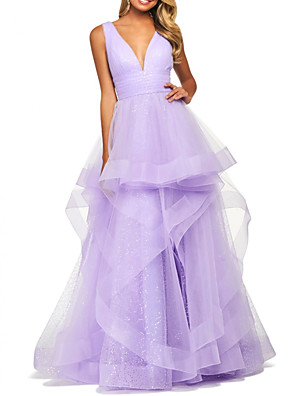 cheap Evening Dresses-Ball Gown Elegant Prom Formal Evening Dress V Neck Sleeveless Floor Length Polyester with Tier 2020