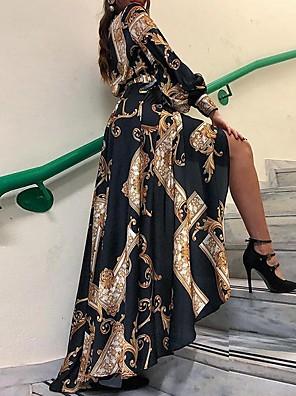 cheap Summer Dresses-Women's Asymmetrical A Line Dress - Long Sleeve Print Shirt Collar Black S M L XL