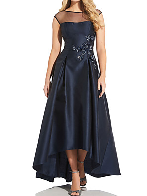 cheap Prom Dresses-A-Line Mother of the Bride Dress Elegant Illusion Neck Asymmetrical Satin Tulle Sleeveless with Pleats Beading 2020