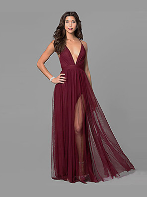 cheap Prom Dresses-A-Line Sexy Red Party Wear Formal Evening Dress V Neck Sleeveless Floor Length Chiffon with Split 2020