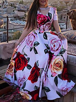 cheap Women's Dresses-Women's A-Line Dress Maxi long Dress - Short Sleeve Floral Print Floral Summer V Neck Vacation Beach Red S M L XL