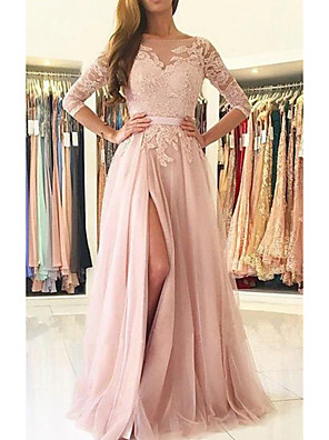 cheap Prom Dresses-A-Line Cut Out Beautiful Back Engagement Prom Dress Illusion Neck Half Sleeve Sweep / Brush Train Chiffon Lace with Split Lace Insert 2020