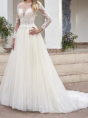 cheap Wedding Dresses-A-Line Wedding Dresses Jewel Neck Sweep / Brush Train Lace Tulle Long Sleeve Country See-Through Plus Size with Lace Embroidery 2020