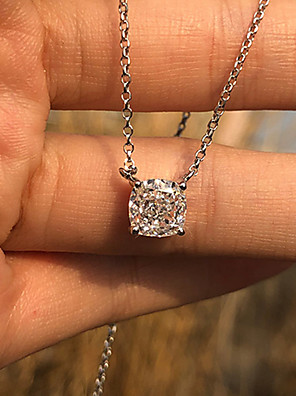 cheap Quartz Watches-1 carat Synthetic Diamond Necklace Alloy For Women's Princess cut Simple Luxury Elegant Bridal Wedding Party Evening Formal High Quality Solitaire