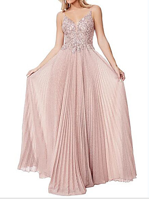 cheap Evening Dresses-A-Line Sparkle Pink Wedding Guest Engagement Dress Spaghetti Strap Sleeveless Floor Length Polyester with Pleats 2020