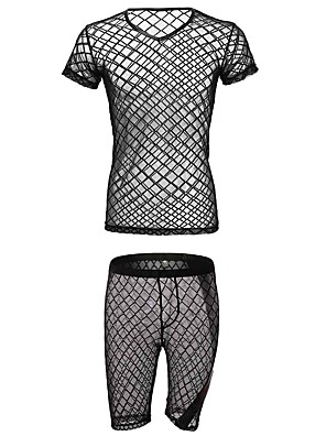 cheap Men's Exotic Underwear-Men's Mesh Suits Nightwear Solid Colored Black M L XL