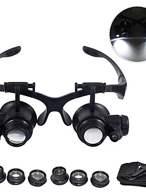 cheap Replacement Parts-Magnifying Glasses 10X 15X 20X 25X Eye Jewelry Watch Repair Magnifier Glasses With 2 LED Lights Microscope