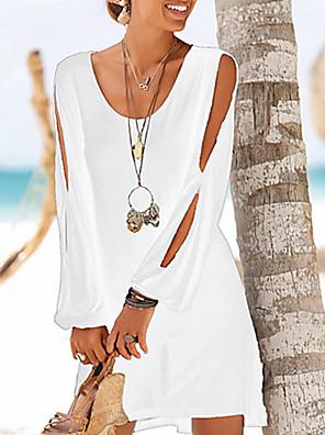 cheap Mini Dresses-Women's Shift Dress - Long Sleeve Solid Colored Slim Wine White Black Blushing Pink Navy Blue S M L XL XXL