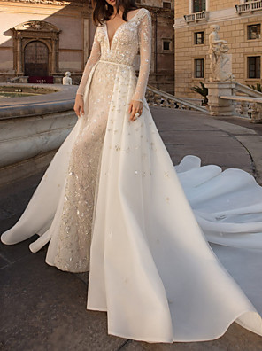 cheap Wedding Dresses-Sheath / Column Wedding Dresses V Neck Watteau Train Tulle Long Sleeve Country Plus Size with Beading Draping Appliques 2020