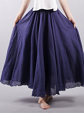 cheap Women's Skirts-Women's Street / Festival Boho / Sophisticated Swing Skirts - Solid Colored Tulle Wine Purple Yellow M L