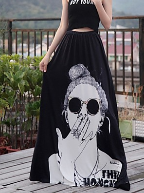 cheap Women's Skirts-Women's Holiday / Formal Evening Boho Trumpet / Mermaid Skirts - Animal Print Black One-Size