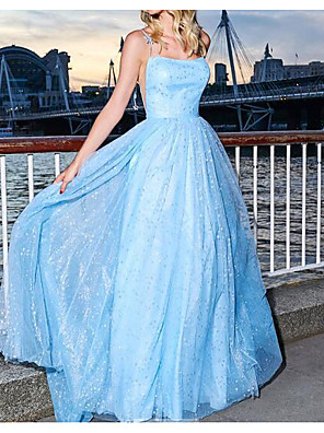 cheap Evening Dresses-A-Line Glittering Blue Party Wear Prom Dress Spaghetti Strap Sleeveless Floor Length Polyester with Sequin 2020