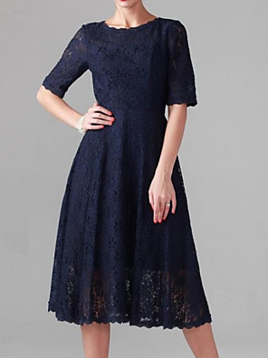 cheap Mother of the Bride Dresses-A-Line Mother of the Bride Dress Elegant Jewel Neck Tea Length Lace Stretch Satin Half Sleeve with Lace 2020