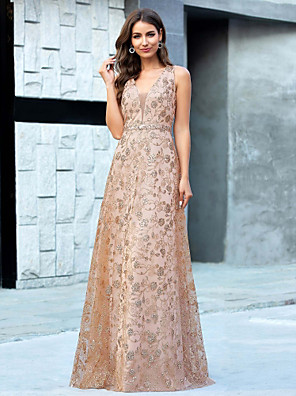 cheap Prom Dresses-A-Line Floral Luxurious Wedding Guest Formal Evening Dress V Neck Sleeveless Floor Length Tulle Sequined with Sequin 2020