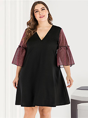 cheap Prom Dresses-Women's Plus Size Maxi Blue & White Black & Red A Line Dress - Long Sleeve Color Block Solid Color Criss Cross Patchwork Basic V Neck Cute Street chic Going out Flare Cuff Sleeve Belt Not Included Red