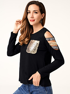 cheap Women's Blouses-women's fashion Sequin panel sexy off shoulder knitting elastic