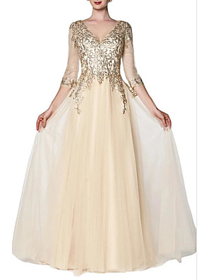 cheap Prom Dresses-A-Line Sparkle Gold Engagement Prom Dress V Neck 3/4 Length Sleeve Floor Length Chiffon with Sequin 2020