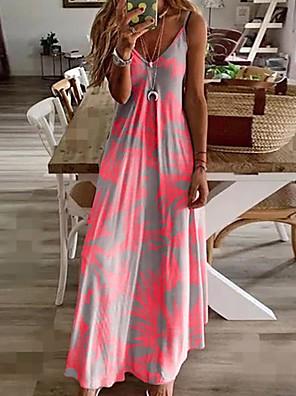 cheap Summer Dresses-Women's Sundress Maxi long Dress - Sleeveless Floral Print Summer V Neck Casual Holiday Vacation Beach 2020 Fuchsia M L XL XXL XXXL XXXXL XXXXXL