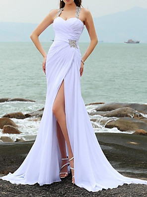 cheap Wedding Dresses-Mermaid / Trumpet Wedding Dresses Sweetheart Neckline Court Train Chiffon Taffeta Cap Sleeve Country Plus Size with Crystals Split Front 2020