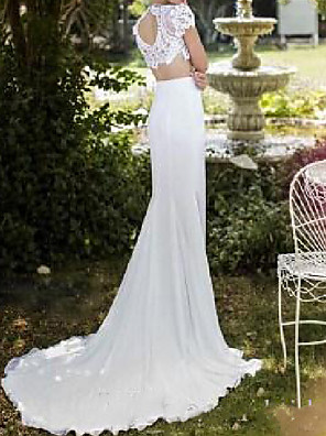 cheap Wedding Dresses-Two Piece Wedding Dresses High Neck Sweep / Brush Train Chiffon Lace Short Sleeve Country Sexy Plus Size with Lace Split Front 2020