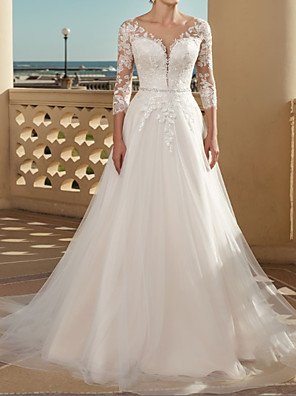 cheap Wedding Dresses-A-Line Wedding Dresses V Neck Sweep / Brush Train Lace Tulle 3/4 Length Sleeve Country Plus Size with Lace Crystals Appliques 2020