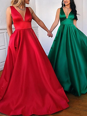 cheap Evening Dresses-A-Line Minimalist Red Party Wear Prom Dress V Neck Sleeveless Floor Length Satin with Pleats 2020