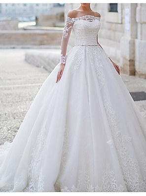 cheap Wedding Dresses-Ball Gown Wedding Dresses Off Shoulder Sweep / Brush Train Tulle Polyester Long Sleeve Country Plus Size with Lace Embroidery 2020
