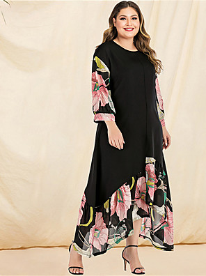 cheap Plus Size Dresses-Women's Plus Size Asymmetrical A Line Dress - Long Sleeve Floral Solid Color Ruffle Patchwork Print Spring & Summer Fall & Winter Casual Boho Daily Beach Flare Cuff Sleeve Belt Not Included Black L
