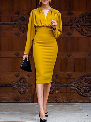 cheap Party Dresses-Women's Bodycon Dress - Long Sleeve Solid Color V Neck Casual Daily Yellow S M L XL