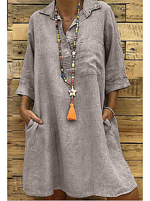 cheap Summer Dresses-Women's Plus Size Shirt Dress Short Mini Dress - 3/4 Length Sleeve Summer V Neck Holiday Home Loose Black Blushing Pink Khaki Green Gray S M L XL XXL XXXL XXXXL XXXXXL