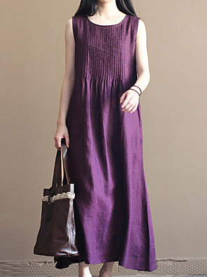 cheap Plus Size Dresses-Women's A Line Dress - Sleeveless Solid Color V Neck White Purple Navy Blue L XL XXL XXXL XXXXL XXXXXL