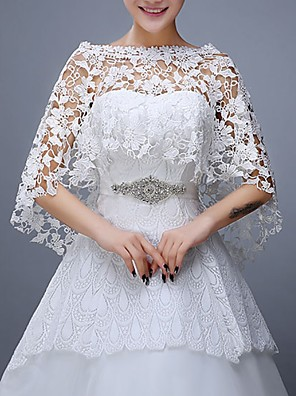 cheap Wedding Wraps-Half Sleeve Capes Lace Wedding Shawl & Wrap With Lace