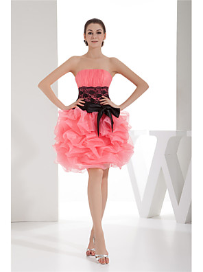 cheap Cocktail Dresses-A-Line Color Block Elegant Homecoming Cocktail Party Dress Strapless Sleeveless Knee Length Organza with Bow(s) Lace Insert 2020
