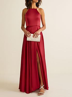 cheap Bridesmaid Dresses-A-Line Halter Neck Floor Length Satin Bridesmaid Dress with Pleats / Split Front