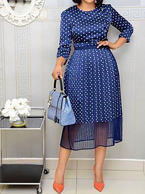 cheap Romantic Lace Dresses-Women's A Line Dress - 3/4 Length Sleeve Polka Dot Blue S M L XL XXL XXXL