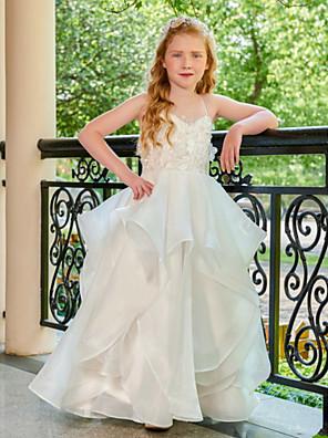 お買い得  女児 ドレス-Aライン フロア丈 結婚式 フラワーガールドレス - チュール ノースリーブ キャミソール とともに 多層 / ソリッド