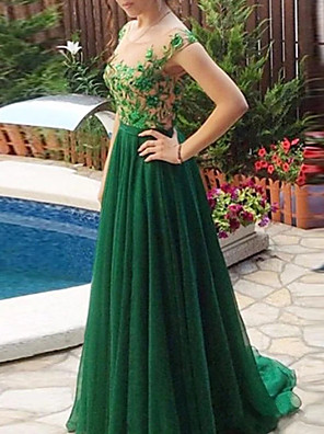 cheap Evening Dresses-A-Line Floral Green Engagement Formal Evening Dress Illusion Neck Sleeveless Sweep / Brush Train Chiffon Lace with Pleats Lace Insert Appliques 2020