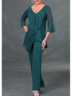 cheap Mother of the Bride Dresses-Pantsuit / Jumpsuit Mother of the Bride Dress Elegant V Neck Floor Length Chiffon 3/4 Length Sleeve with Beading Ruffles 2020