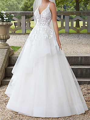 cheap Wedding Dresses-A-Line Wedding Dresses Spaghetti Strap Court Train Polyester Sleeveless Country Plus Size with Ruffles Lace Insert Appliques 2020