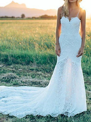 cheap Wedding Dresses-Mermaid / Trumpet Wedding Dresses Spaghetti Strap Court Train Lace Sleeveless Country Plus Size with Lace 2020