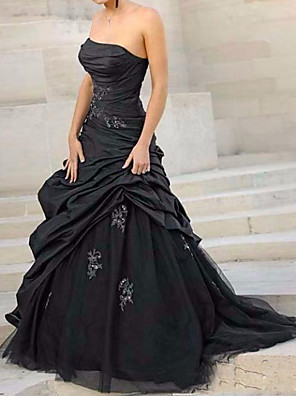 cheap Wedding Dresses-Ball Gown Wedding Dresses Strapless Sweep / Brush Train Tulle Polyester Sleeveless Country Plus Size Black with Ruched Appliques 2020