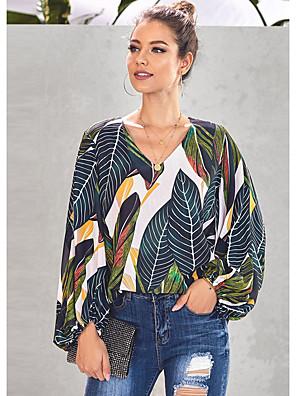 cheap Women's Blouses & Shirts-Women's Blouse Geometric Print Tops V Neck Red Orange Green / Long Sleeve