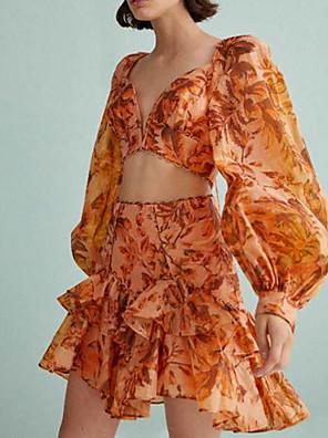 cheap Junior Bridesmaid Dresses-Two Piece Boho Yellow Holiday Cocktail Party Dress V Neck Long Sleeve Short / Mini Chiffon with Ruffles Pattern / Print 2020