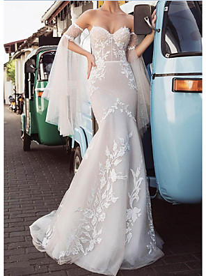 cheap Evening Dresses-Mermaid / Trumpet Wedding Dresses Strapless Sweep / Brush Train Lace Tulle Long Sleeve Strapless Country Plus Size with Lace Embroidery 2020