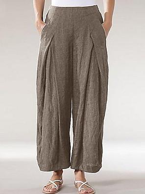 cheap Women's Blouses & Shirts-Women's Basic Loose Linen Wide Leg Pants Solid Colored Black Blue Khaki S M L
