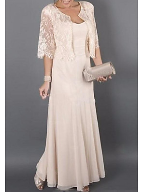 cheap Special Occasion Dresses-Sheath / Column Mother of the Bride Dress Elegant Sweetheart Neckline Floor Length Chiffon Half Sleeve with Pleats 2020