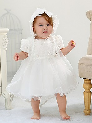 cheap Christening Gowns-Ball Gown Floor Length First Communion Christening Gowns - Polyester Short Sleeve Jewel Neck with Lace / Bow(s)