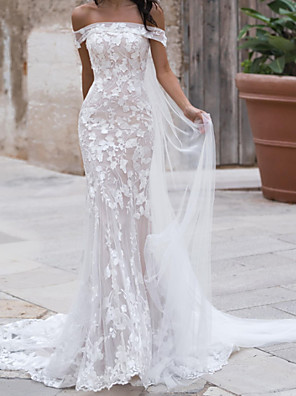 cheap Wedding Dresses-Mermaid / Trumpet Wedding Dresses Off Shoulder Sweep / Brush Train Tulle Polyester Short Sleeve Country Plus Size with Embroidery Appliques 2020