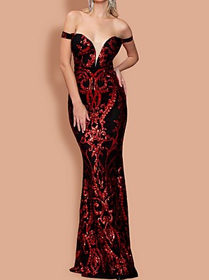 cheap Cocktail Dresses-Mermaid / Trumpet Sexy Sparkle Prom Formal Evening Dress Off Shoulder Short Sleeve Floor Length Polyester with Sequin 2020